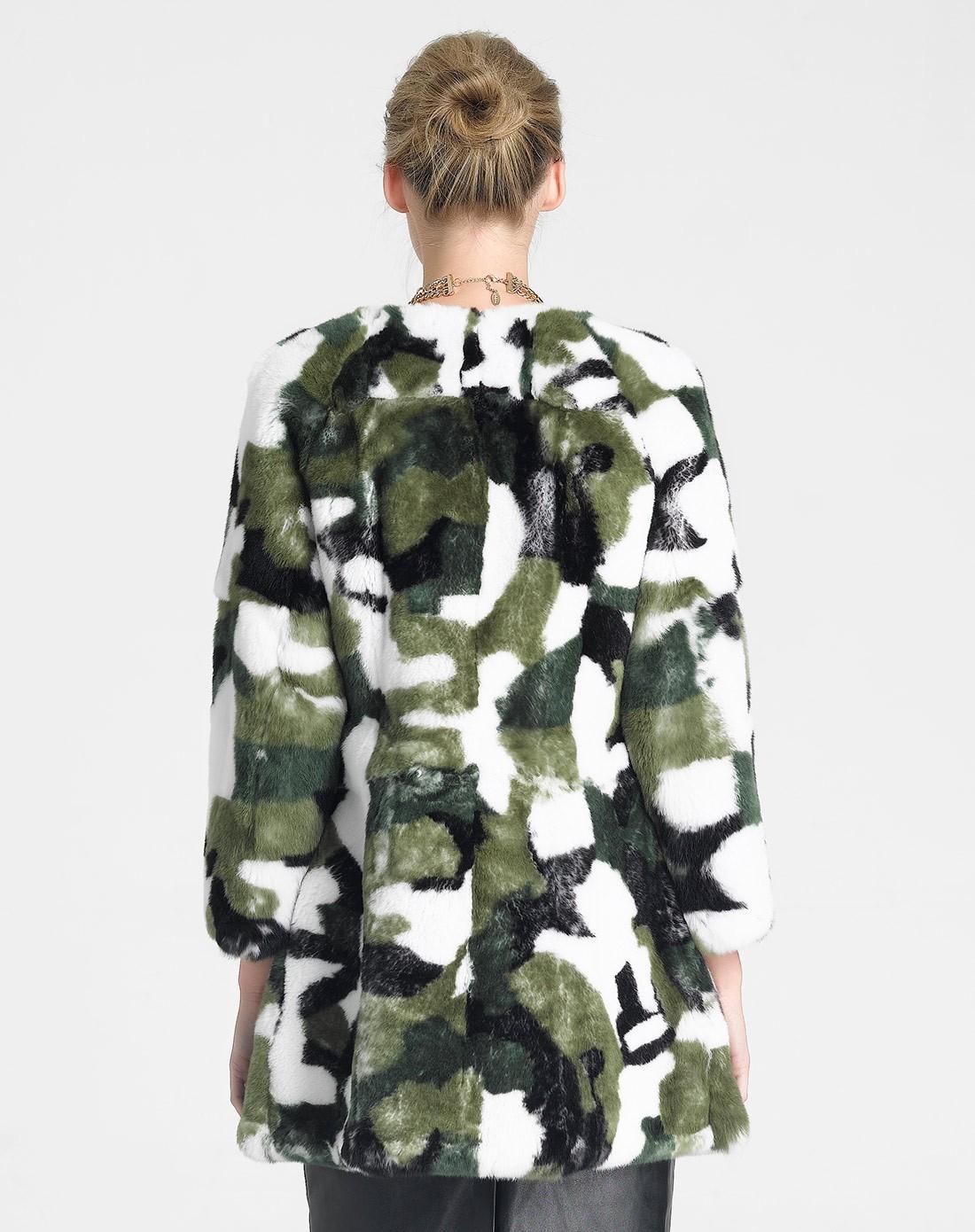 lublin皮草女式绿色獭兔迷彩时尚外套8320000219