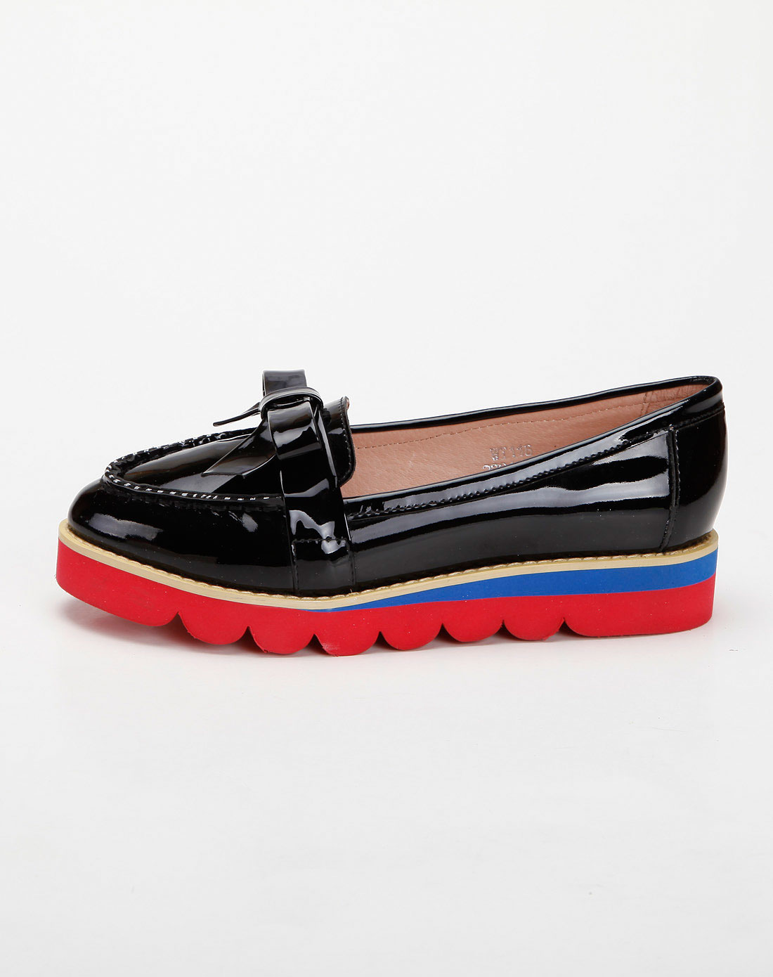 color黑色牛漆皮蝴蝶结平底松糕鞋单鞋