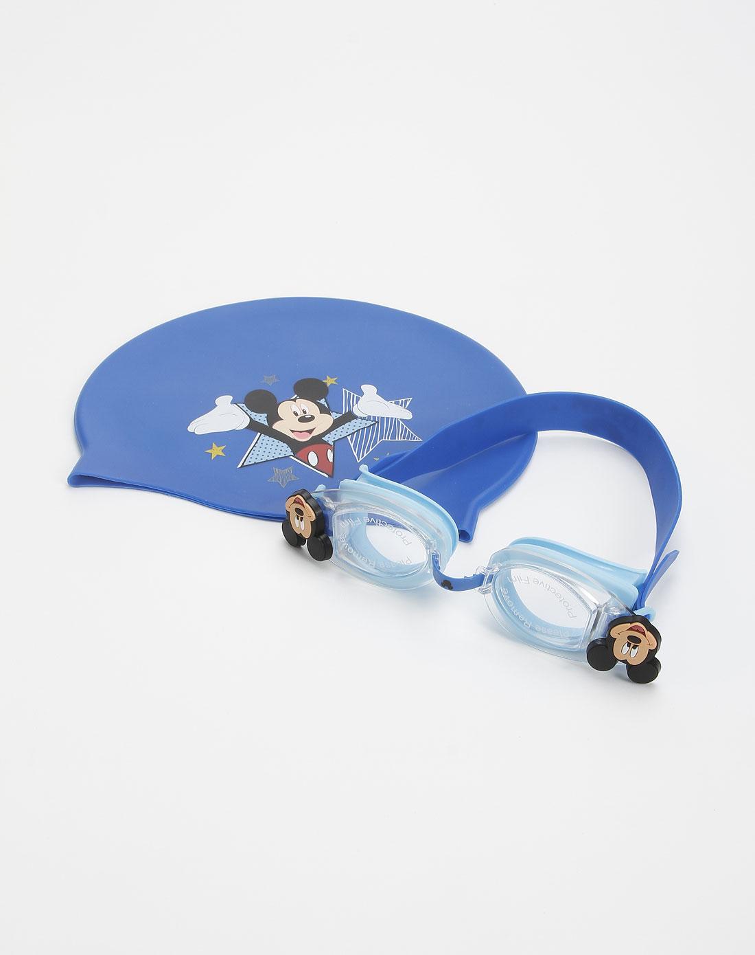 迪士尼蓝色儿童卡通泳镜套装