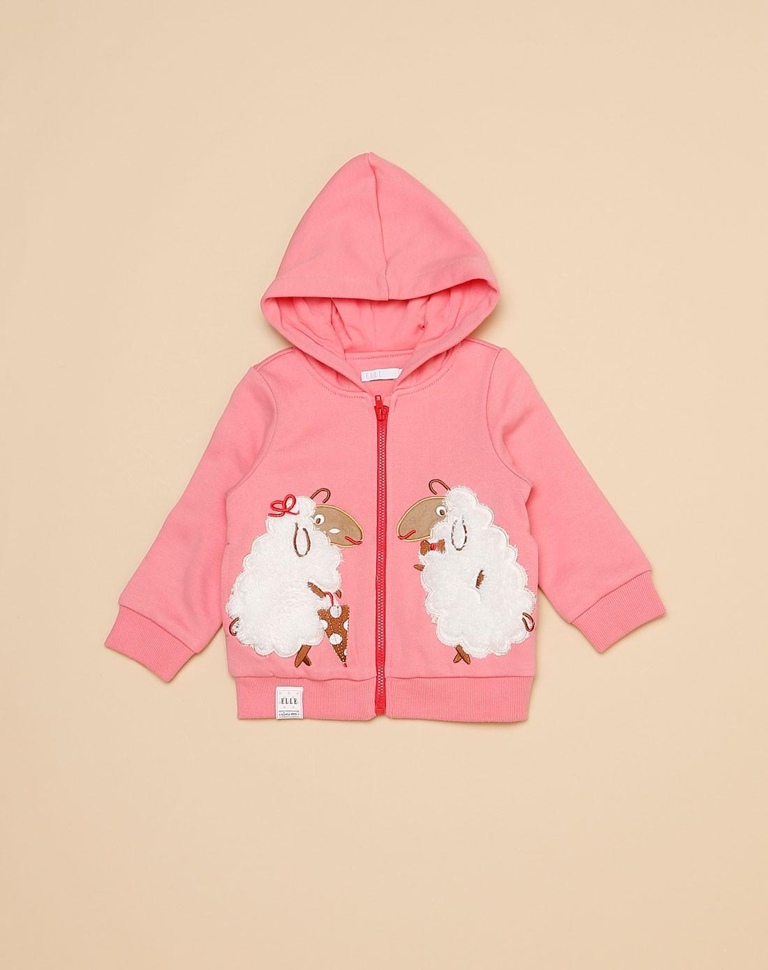 女童粉红色可爱绵羊长袖外套