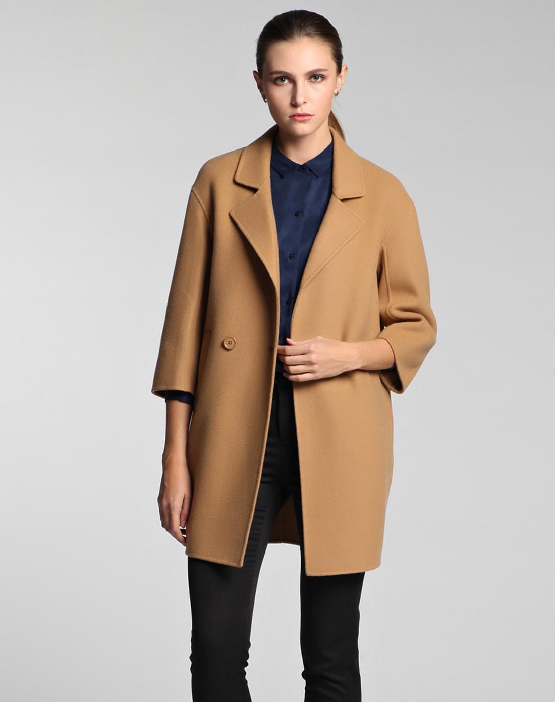 驼色西装领七分袖双面呢大衣