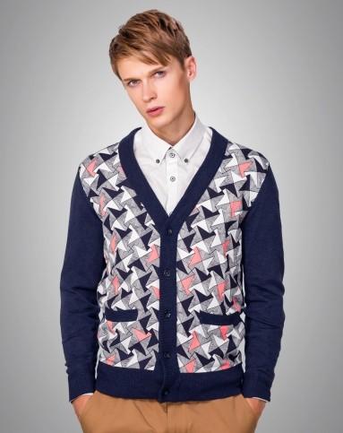 深蓝开衫针织外套