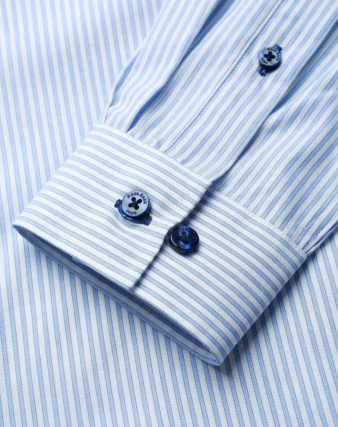 蓝白条纹经典款正装衬衫
