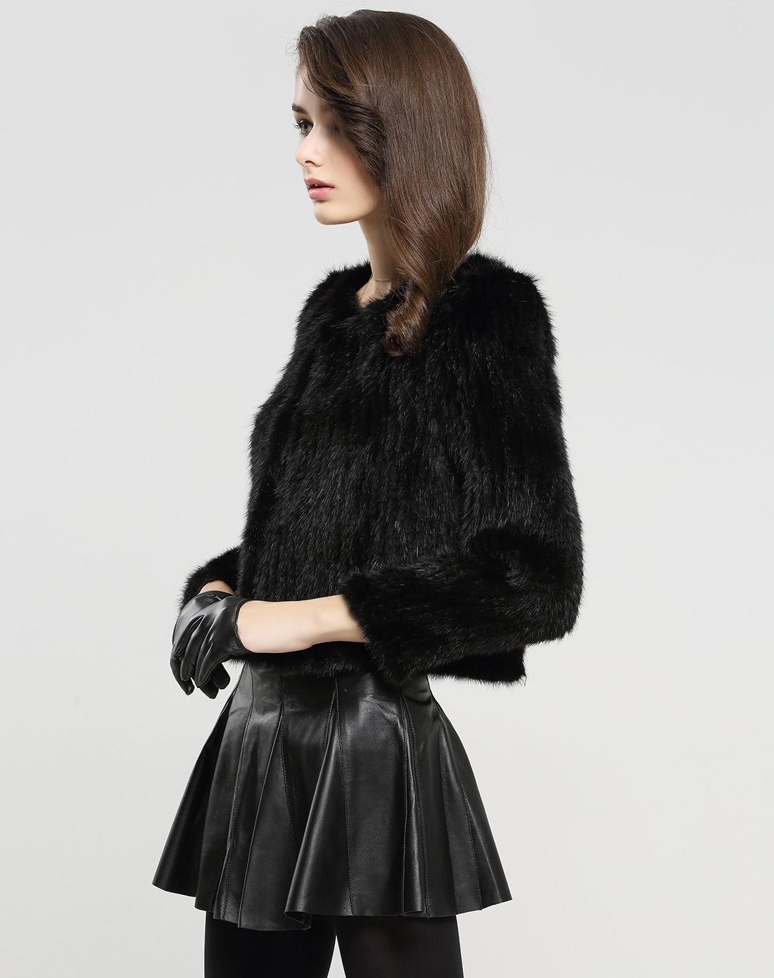女黑色水貂毛圆领时尚百搭皮草外套