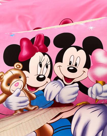 1.5m迪士尼淡粉色米奇米妮宽幅欧式四件套