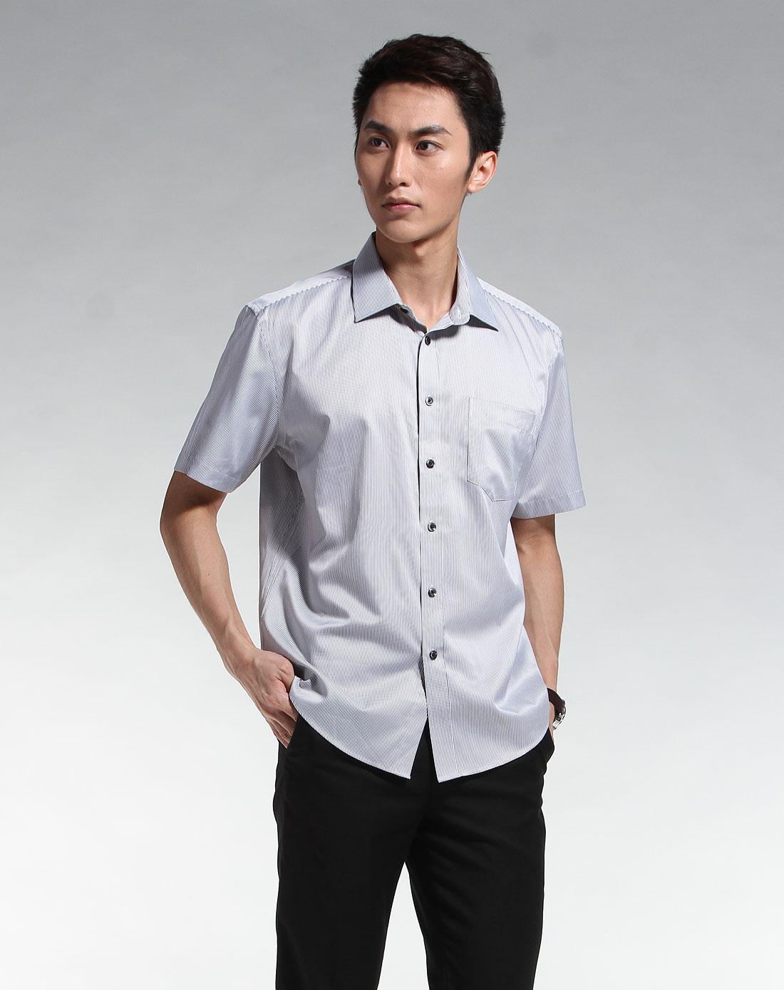 奥斯卡丹oscardan男装专场-灰色竖纹休闲短袖衬衫