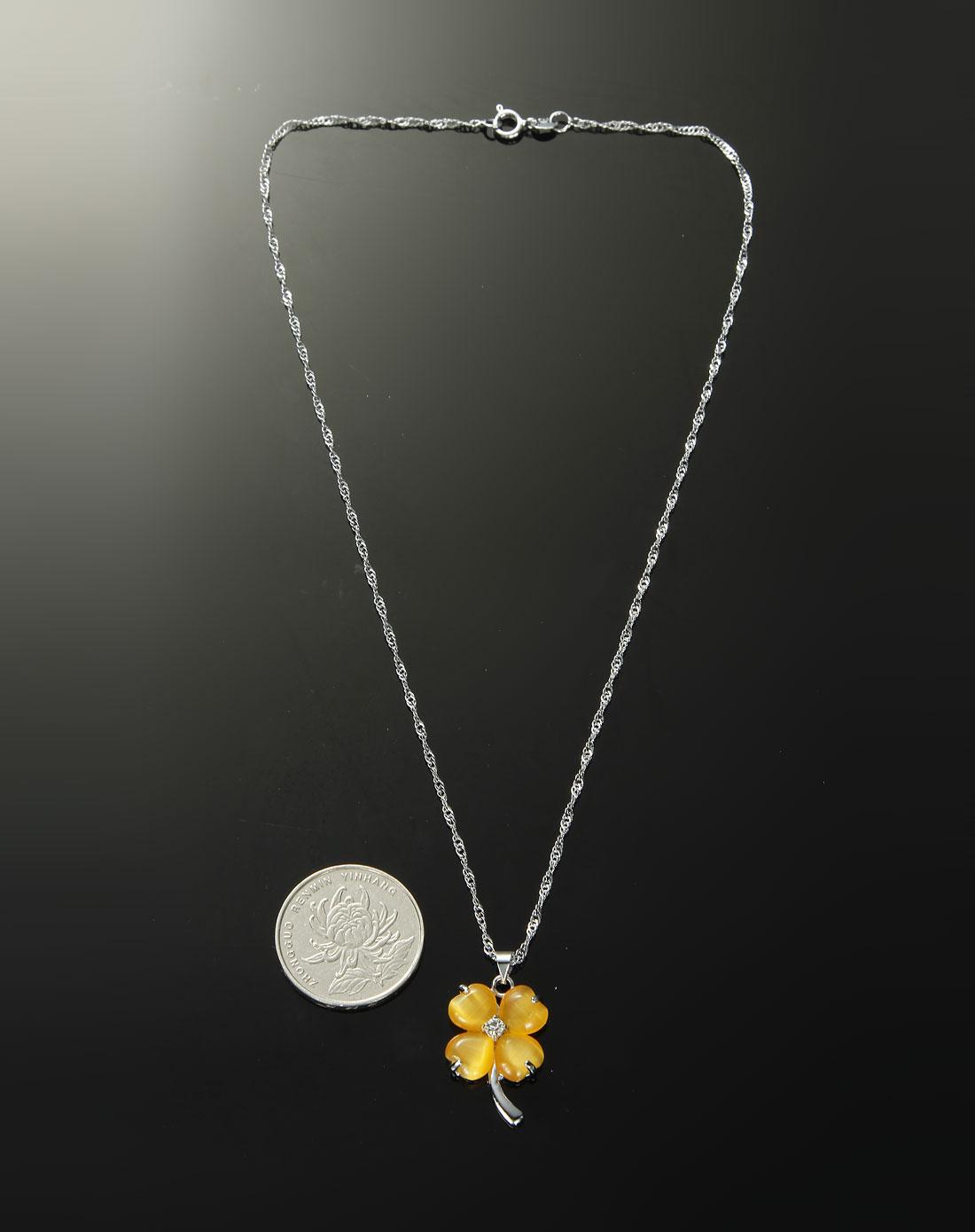 绿野翡翠饰品专场-黄色时尚银杏叶项链