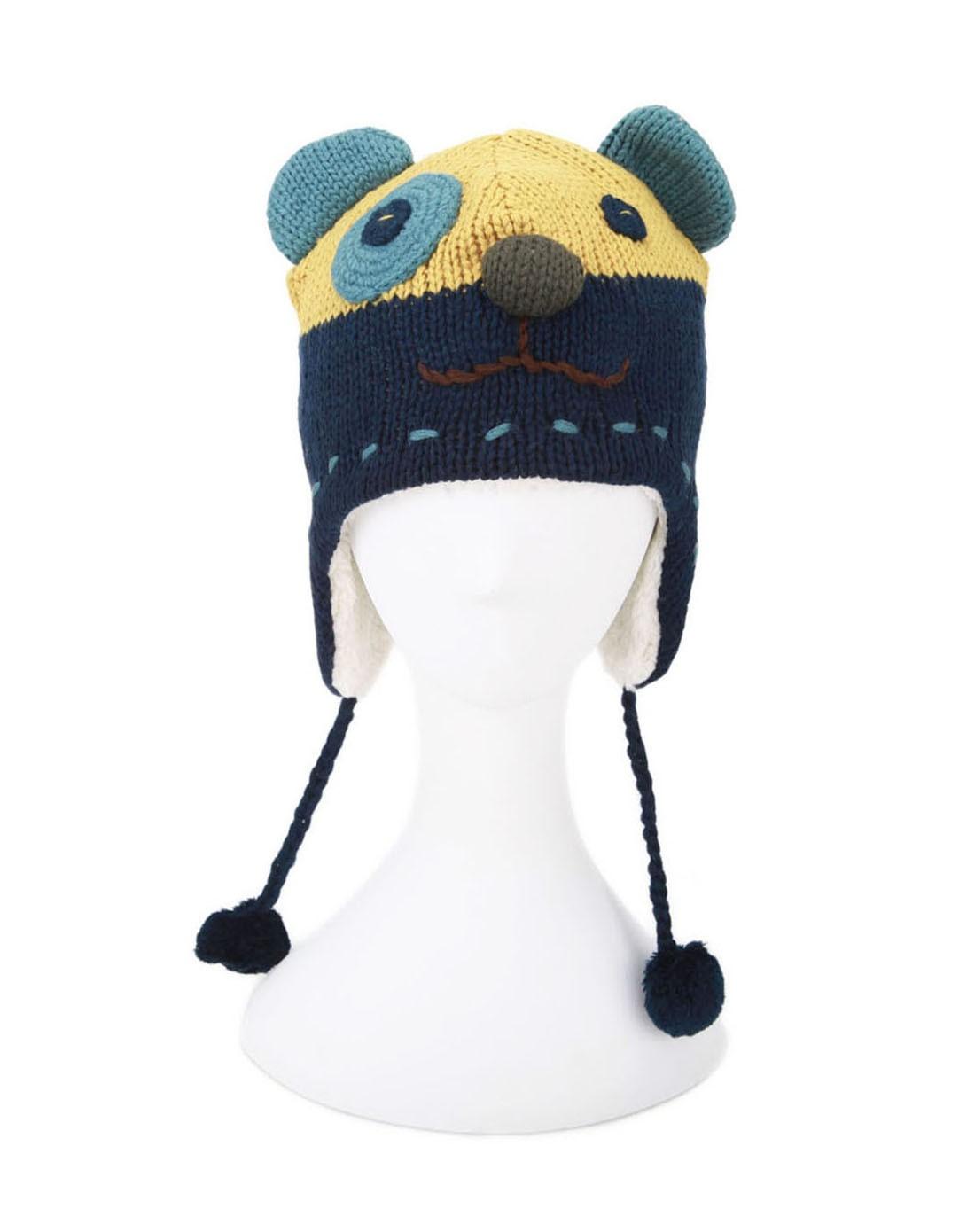 中性青色可爱动物针织帽子