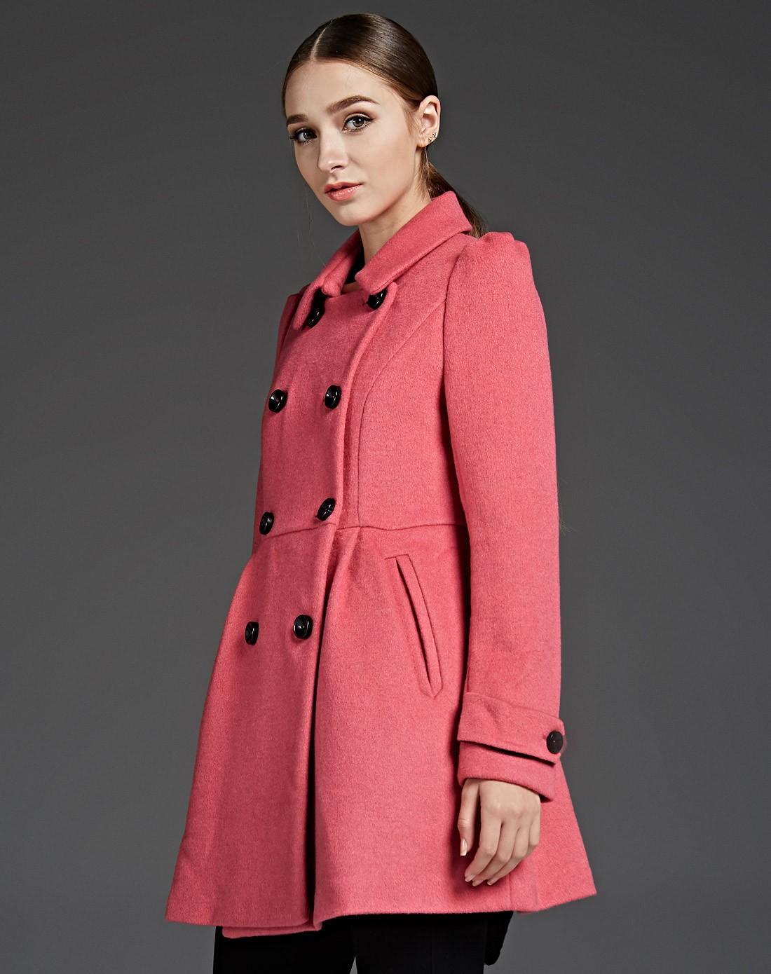 羊绒呢大衣外套女_韩版修身羊绒毛呢大衣女外套