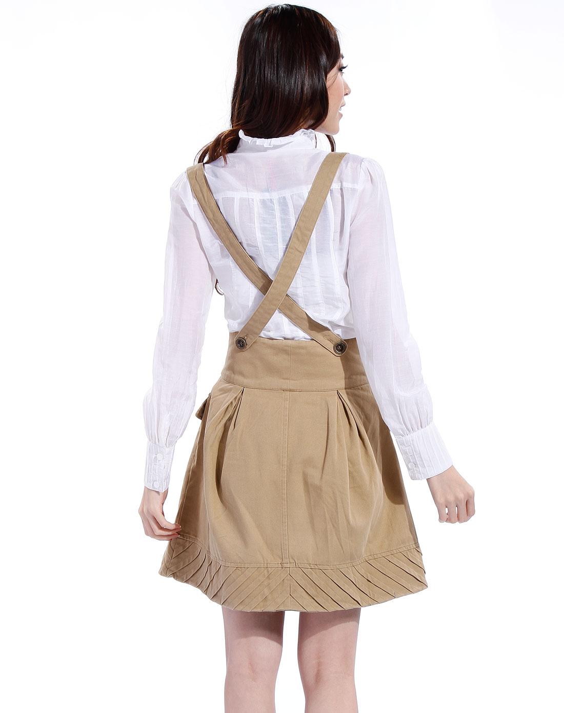 卡其色时尚双褶背带裙