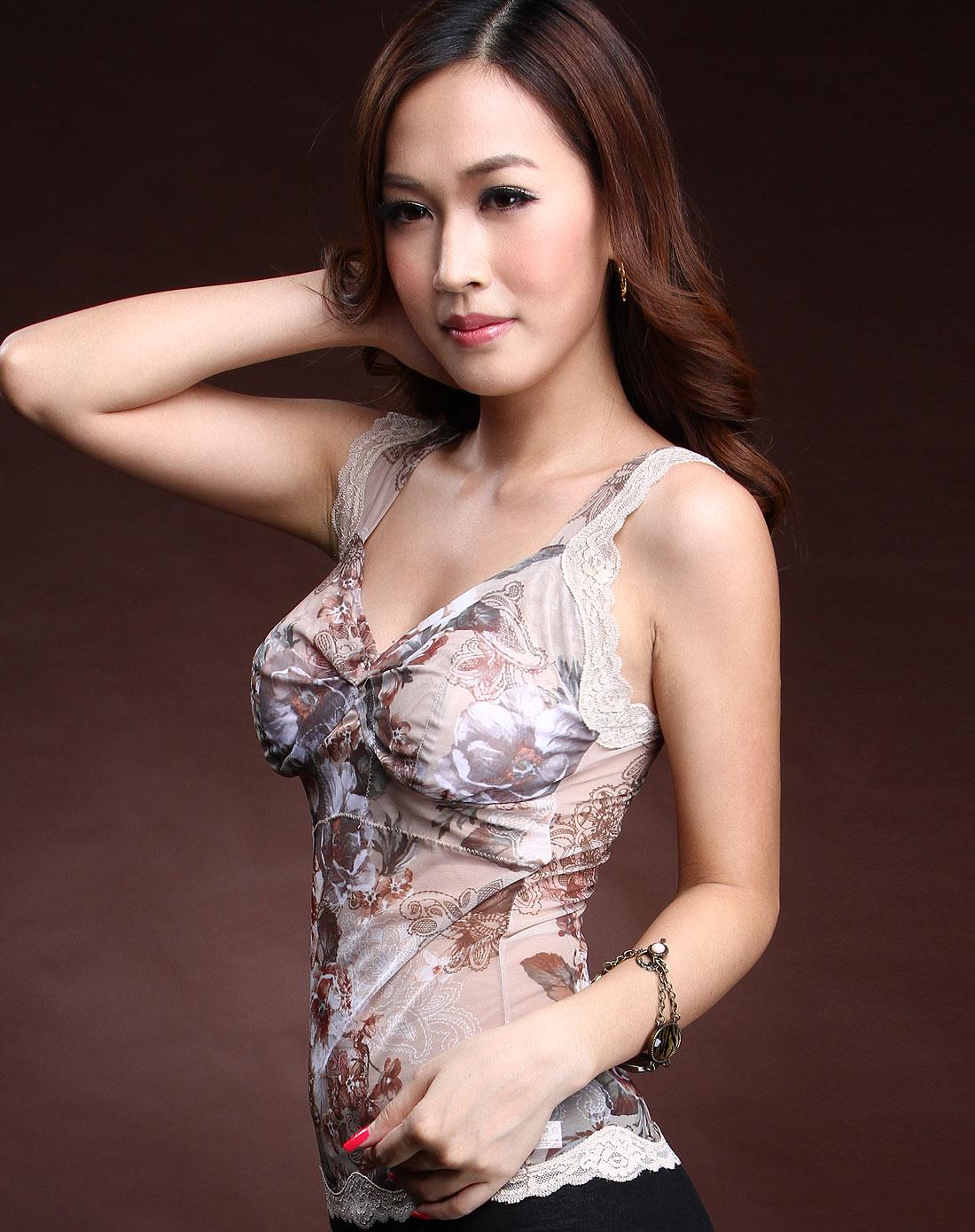 xin内衣专场浅棕色印花吊带背心w0132 bn