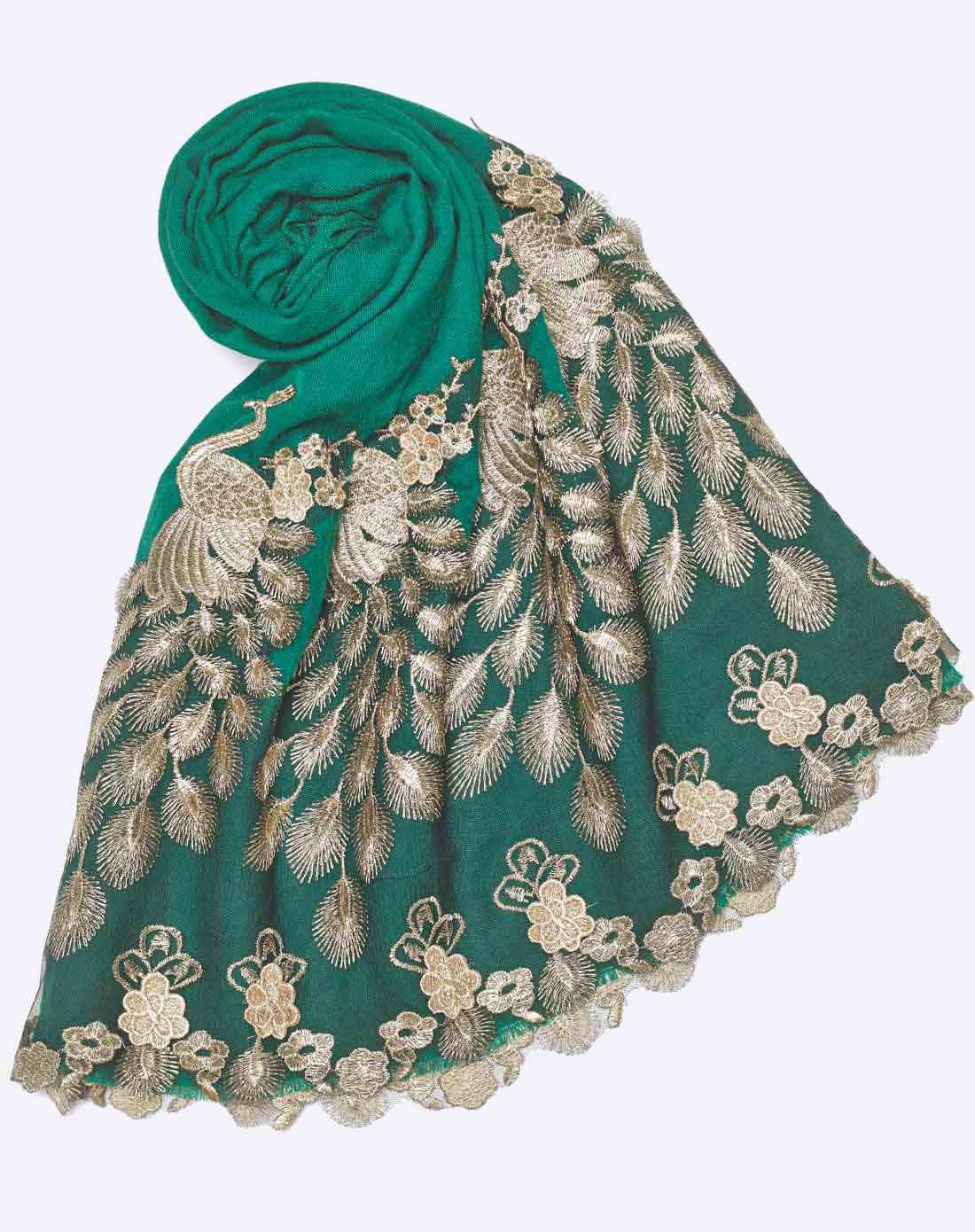绿色孔雀开屏羊毛保暖围巾披肩