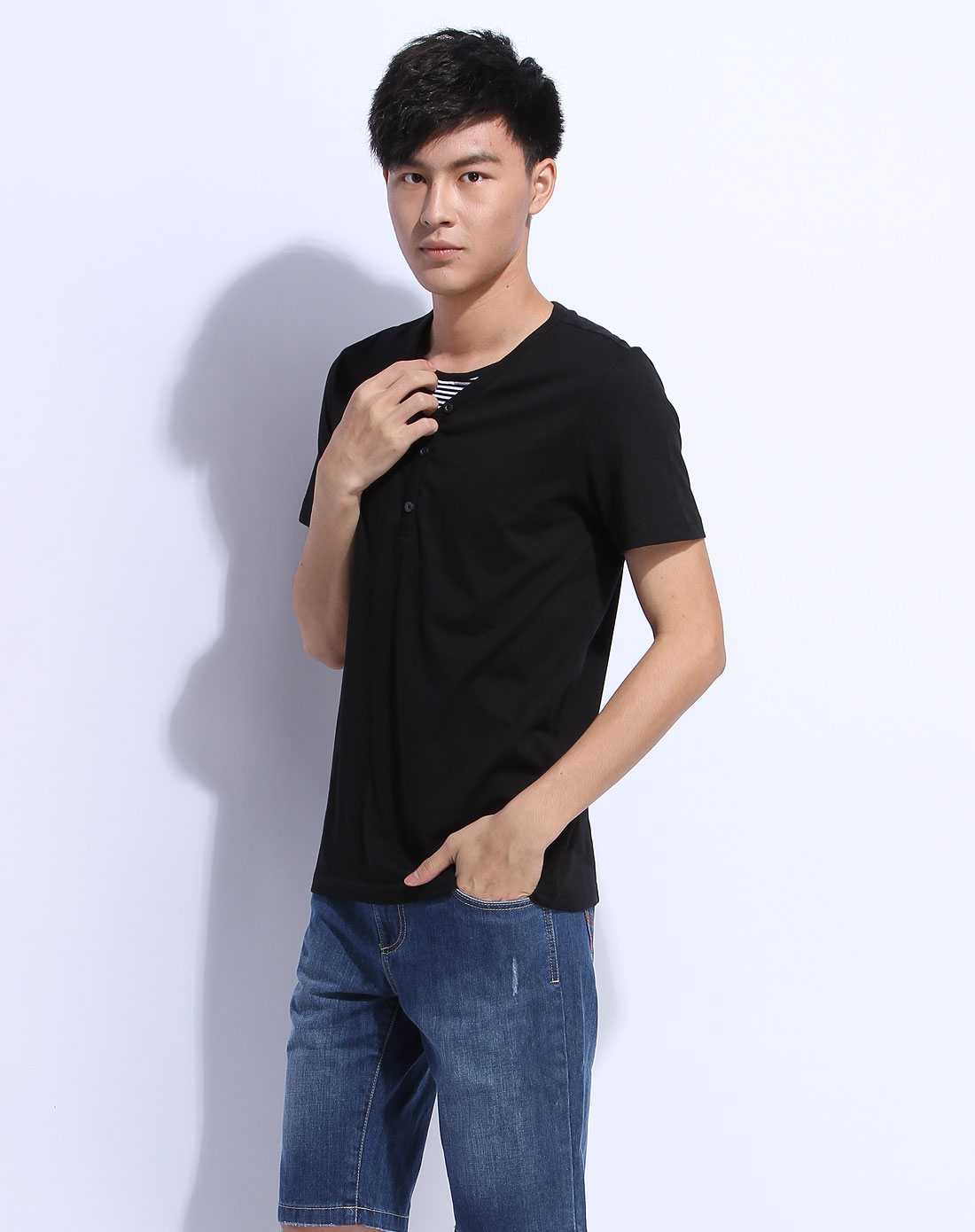 森马男装专场-黑色短袖t恤图片