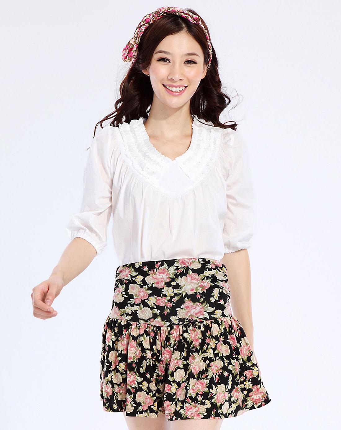 简时尚品justyle_简时尚品justyle女装专场-白色时尚中袖上衣