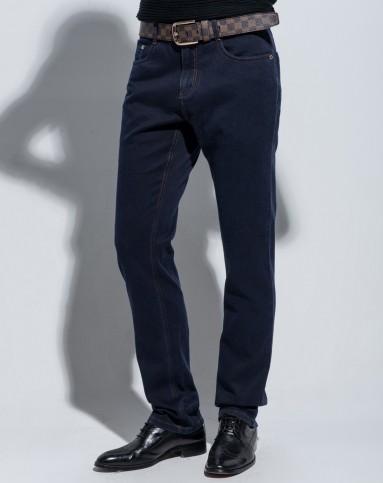 蓝色简单大方水洗棉质牛仔裤