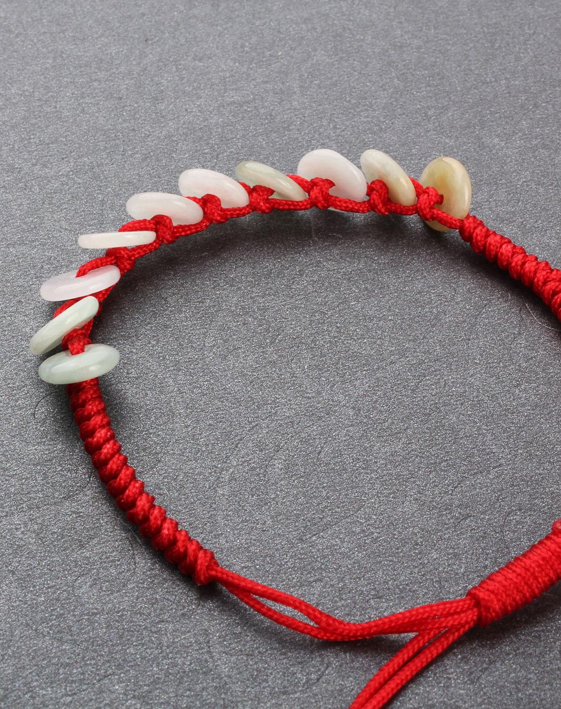 翡翠a货手工编织手链可调节平安扣