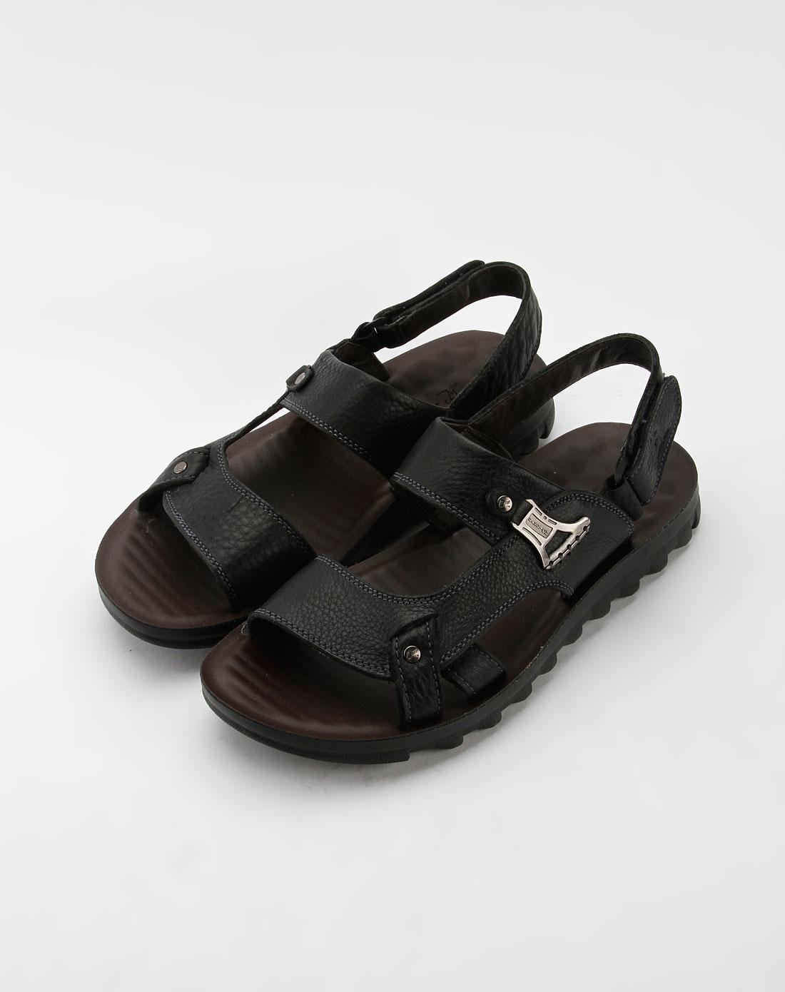男款黑色时尚休闲凉鞋