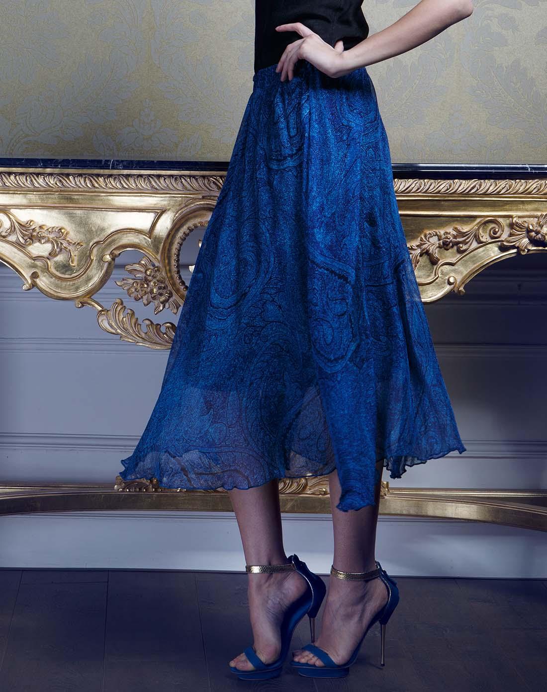 蓝色真丝裤