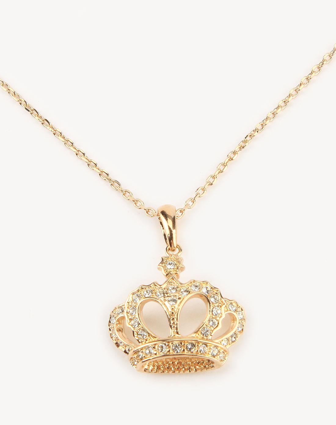 金色镶钻小皇冠吊坠项链