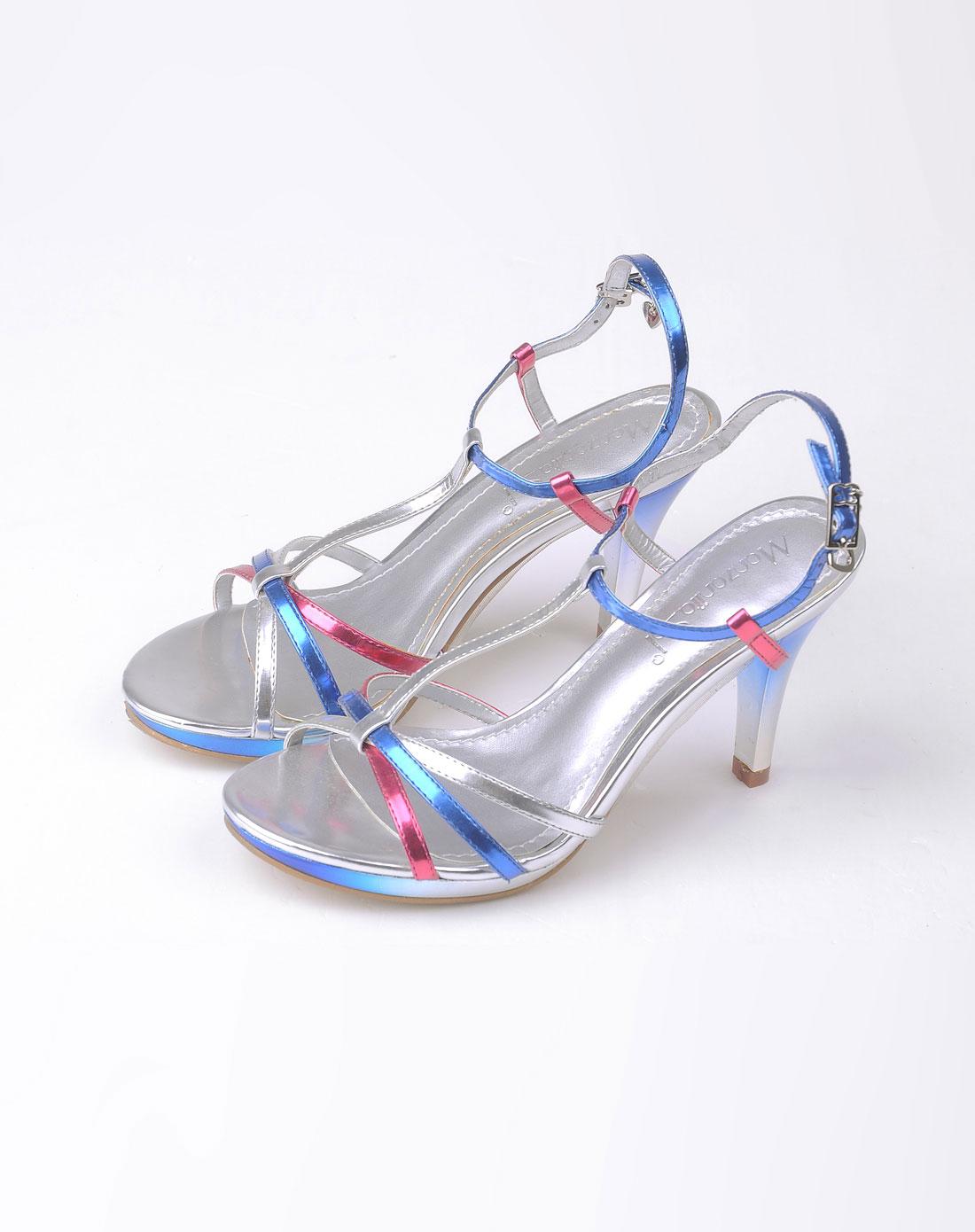 女款银色性感细带高跟凉鞋