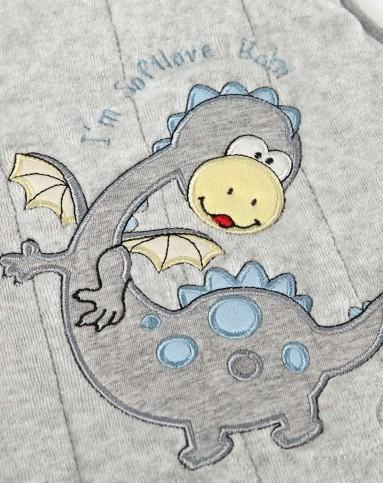 男童麻灰色恐龙宝宝棉背心
