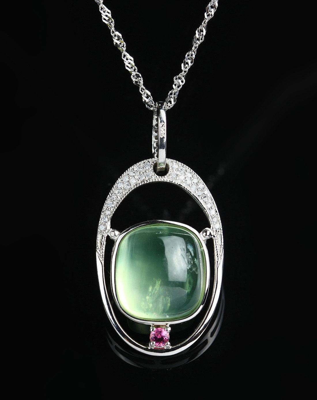 女款绿色葡萄石吊坠欧式款赠证书银链