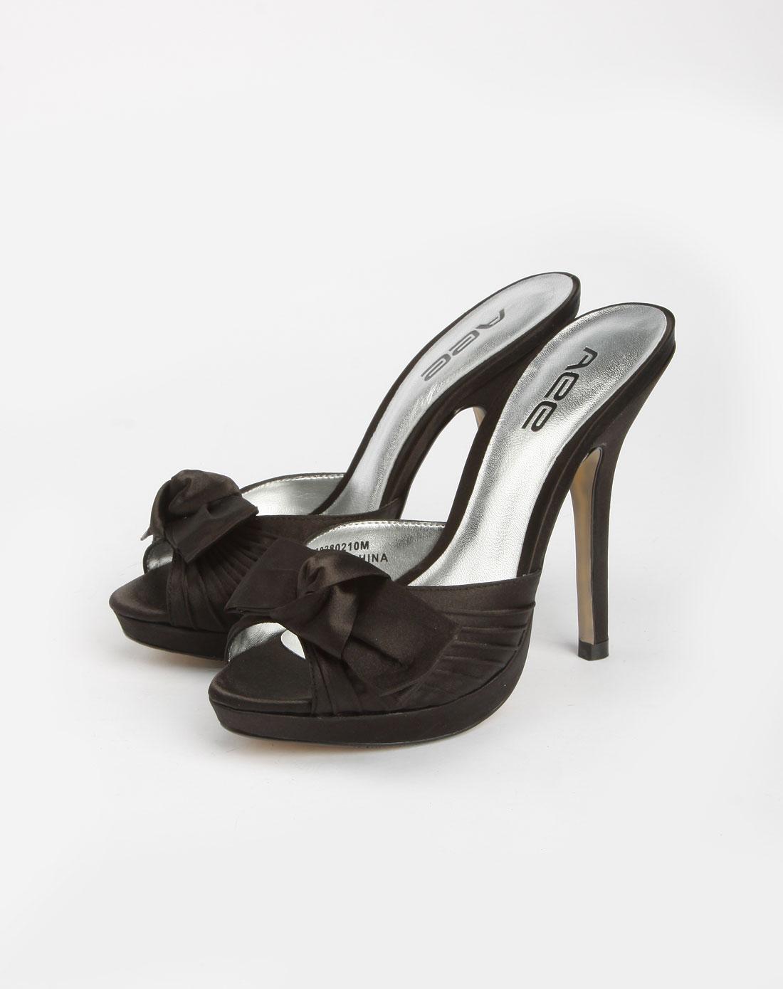 爱意 黑色皱褶蝴蝶结高跟鞋