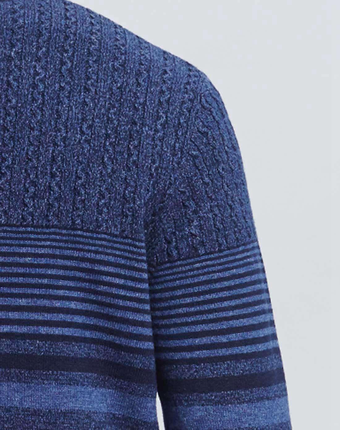 蓝色渐变横条羊毛衫