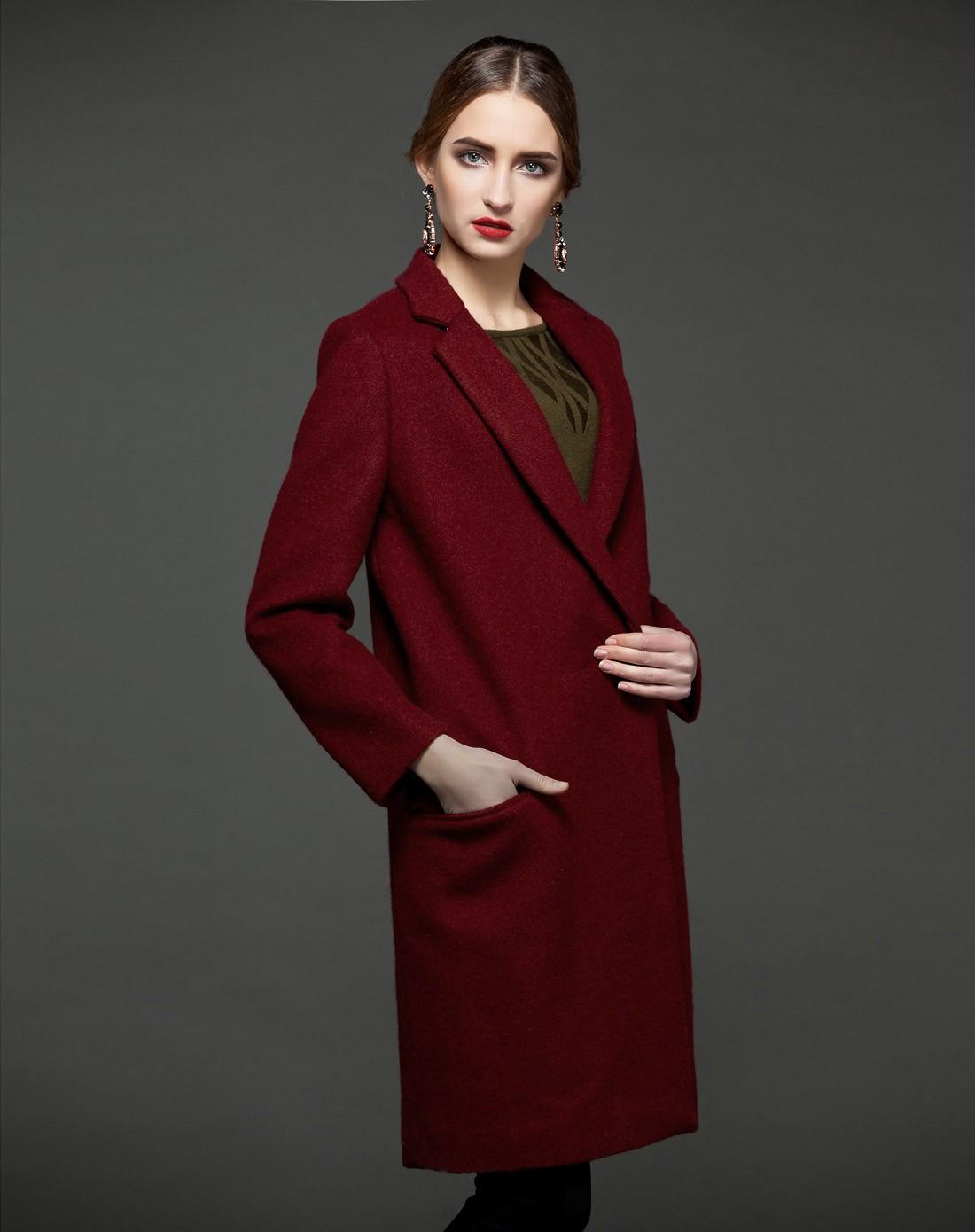 lux酒紅色西服翻領知性夾棉羊毛大衣外套03663rd01