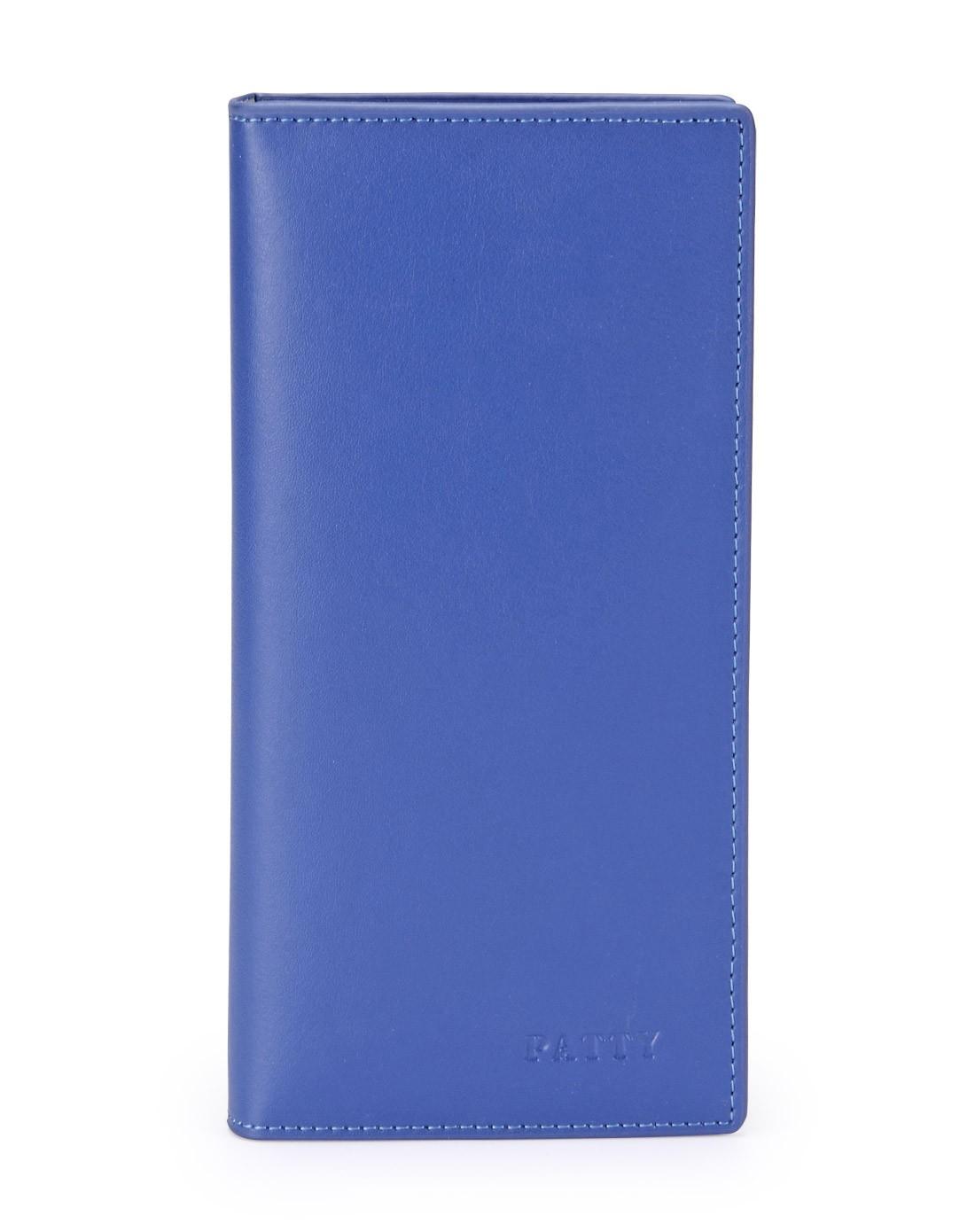 蓝色素雅简约纯色牛皮钱包