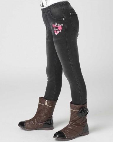 女童黑牛针织牛仔裤
