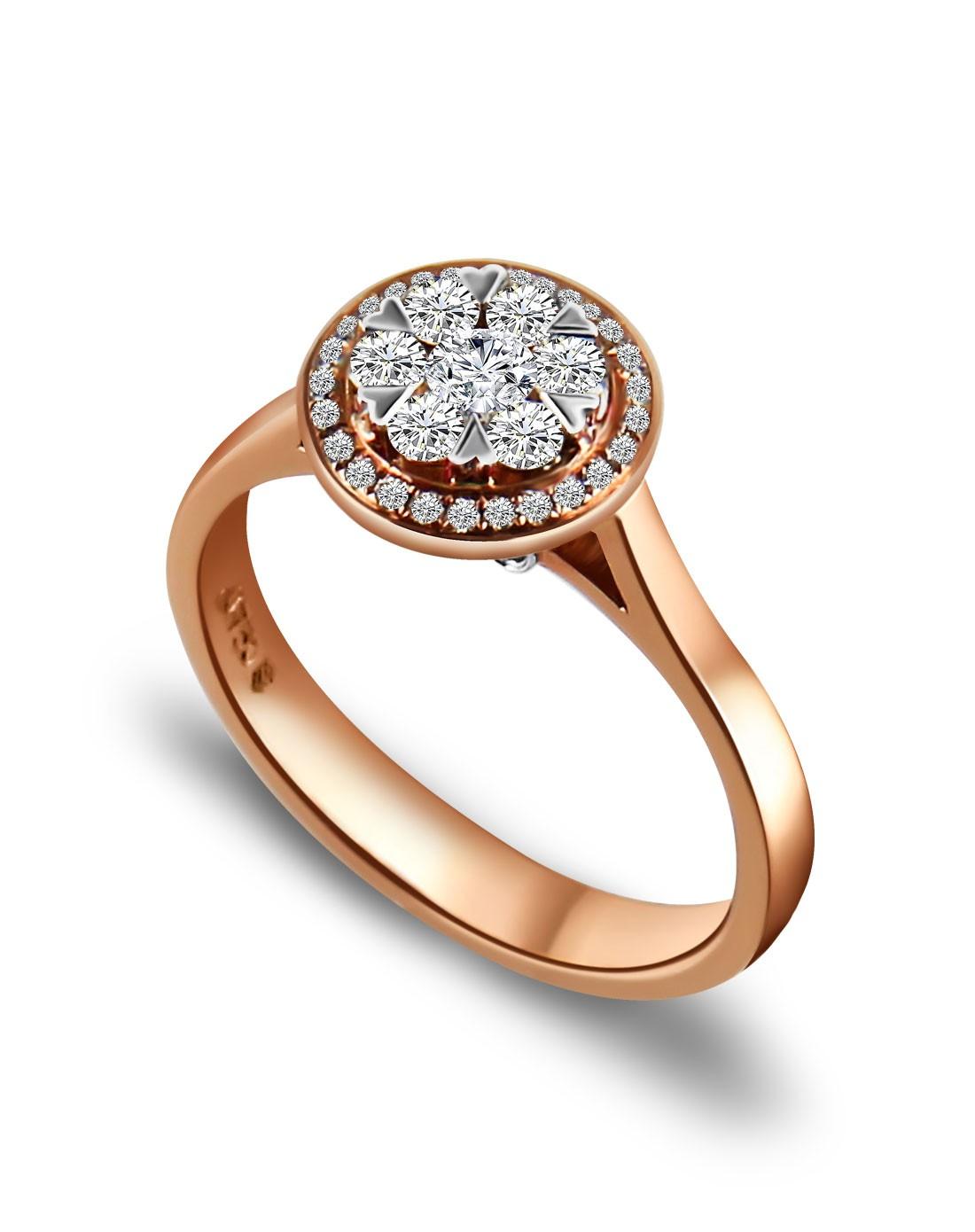 47分18k玫瑰金钻石戒指