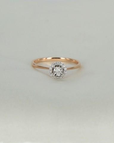 11分18k玫瑰金钻石戒指