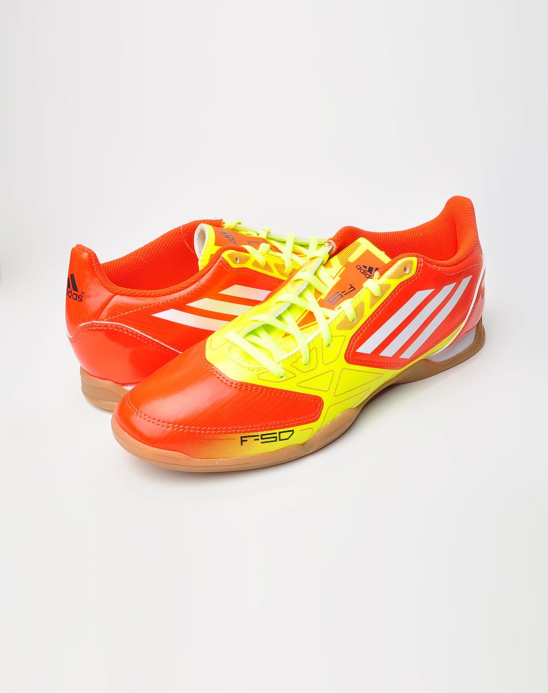 阿迪达斯adidas男款f50系列橙红/黄炫目配色室内足
