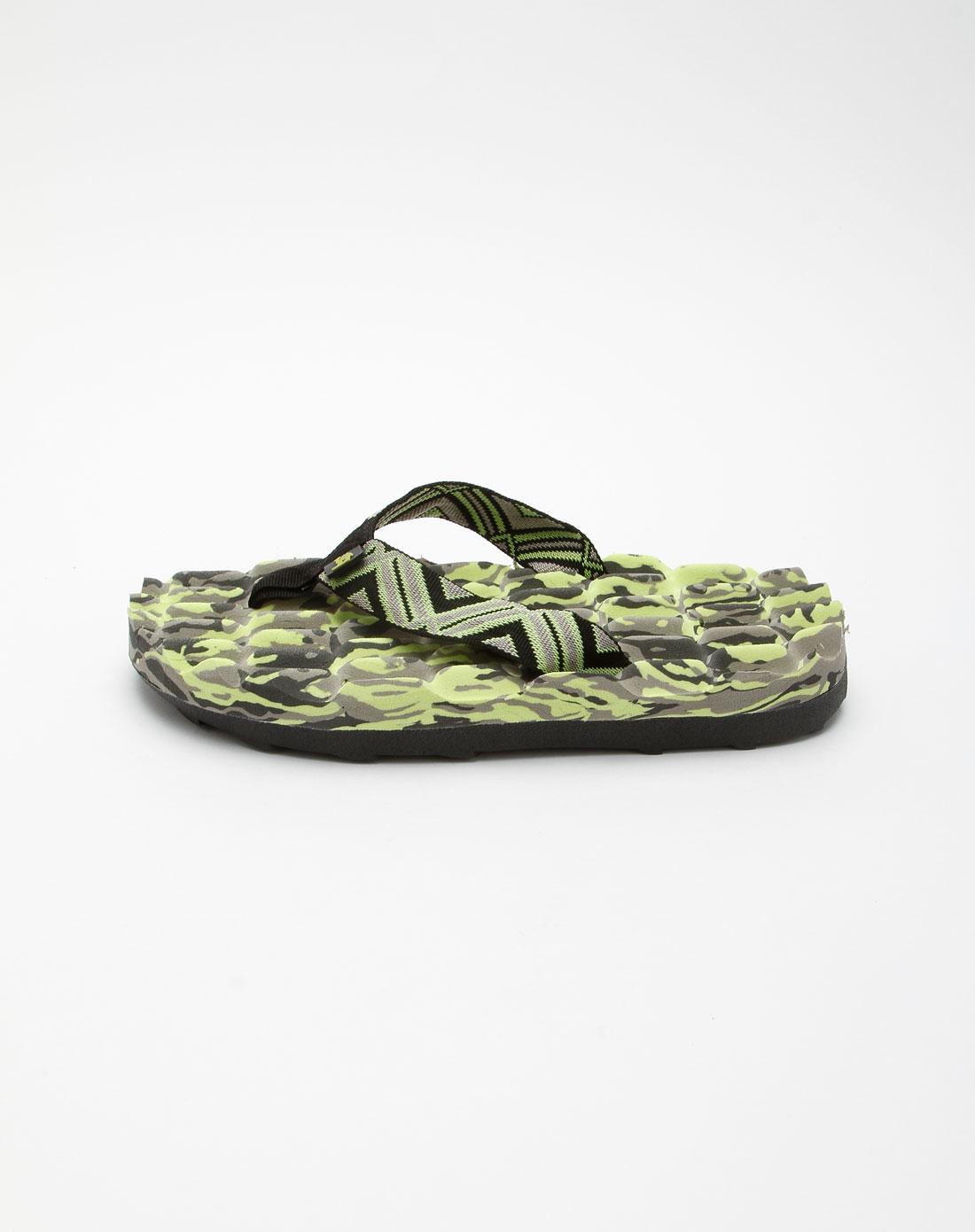 绿色黑色豹纹简笔画假鞋带情侣款户外沙滩休闲拖鞋
