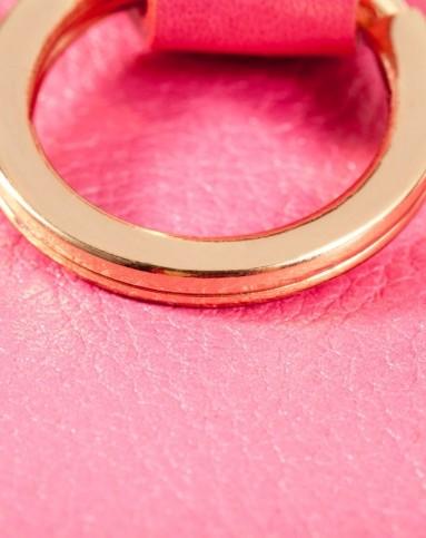 女士粉红色精致小巧头层牛皮车钥匙包