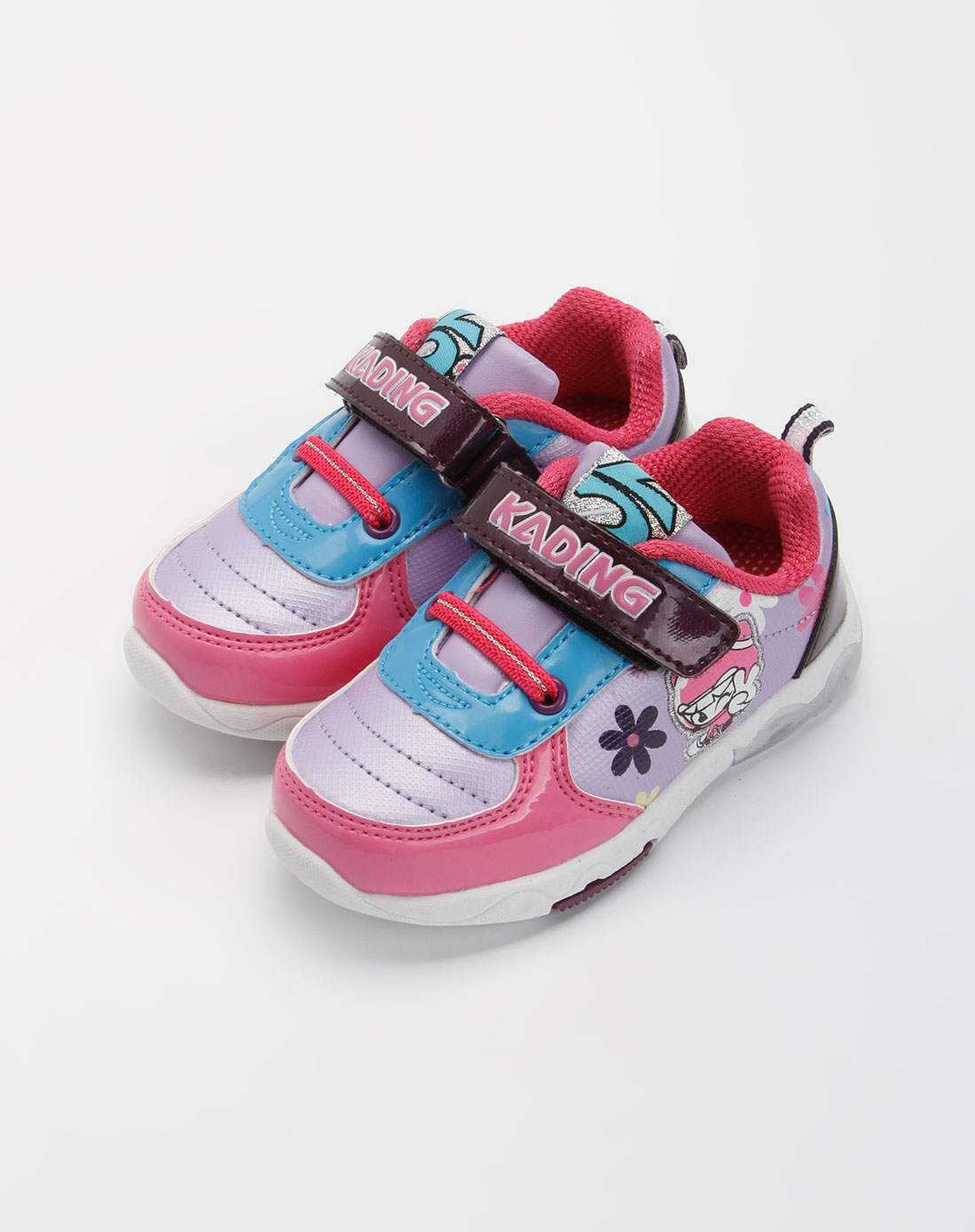 卡丁童鞋-女宝宝粉红/紫色闪灯运动鞋