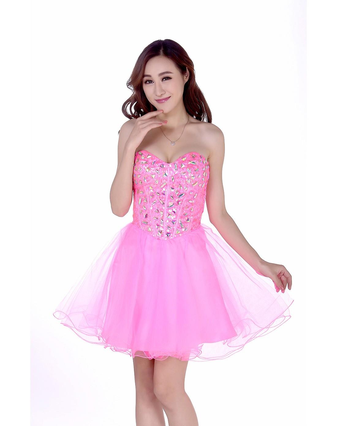 粉色闪亮高贵抹胸礼服连衣裙