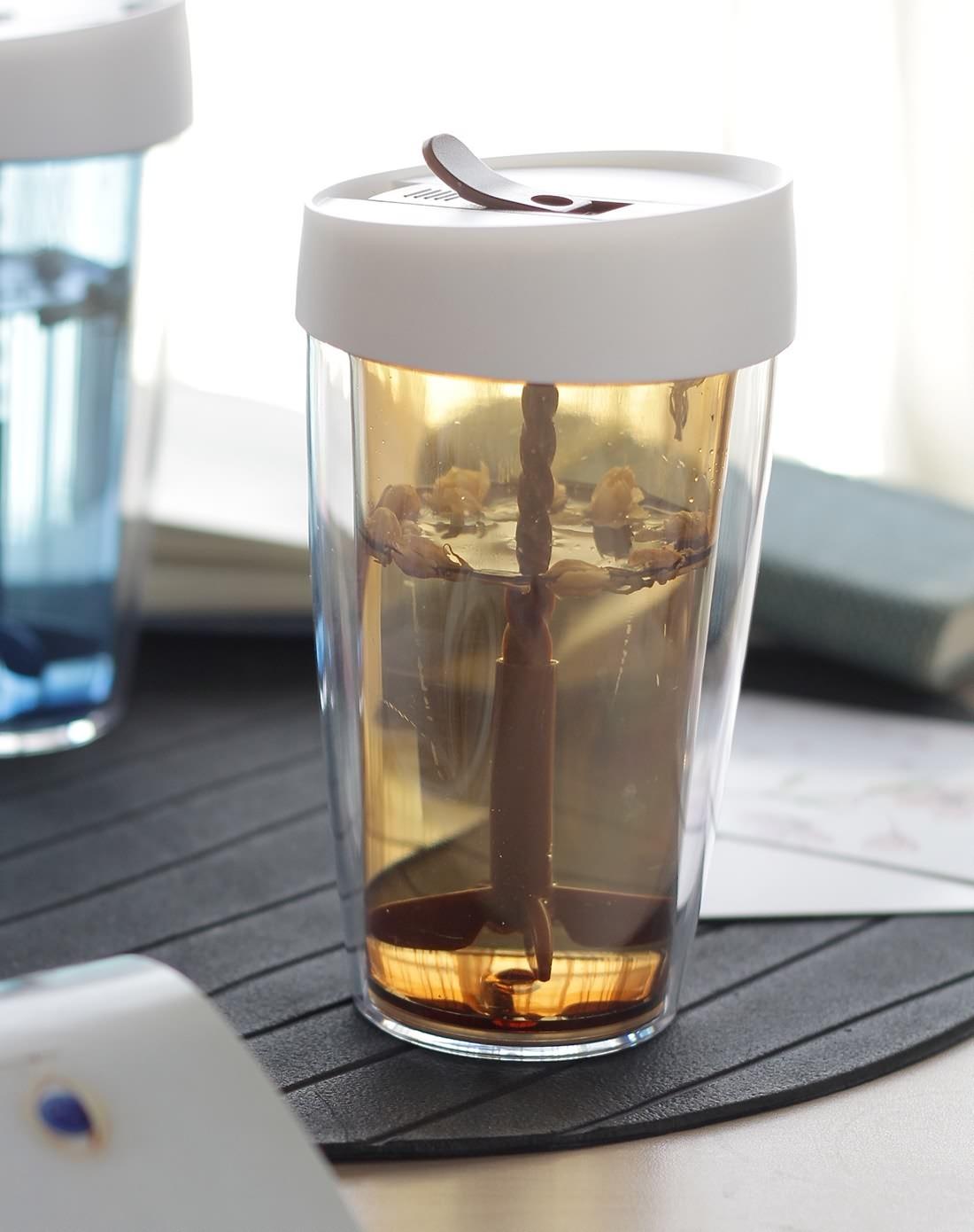 (多色)米尚创意双层透明果汁搅拌杯图片