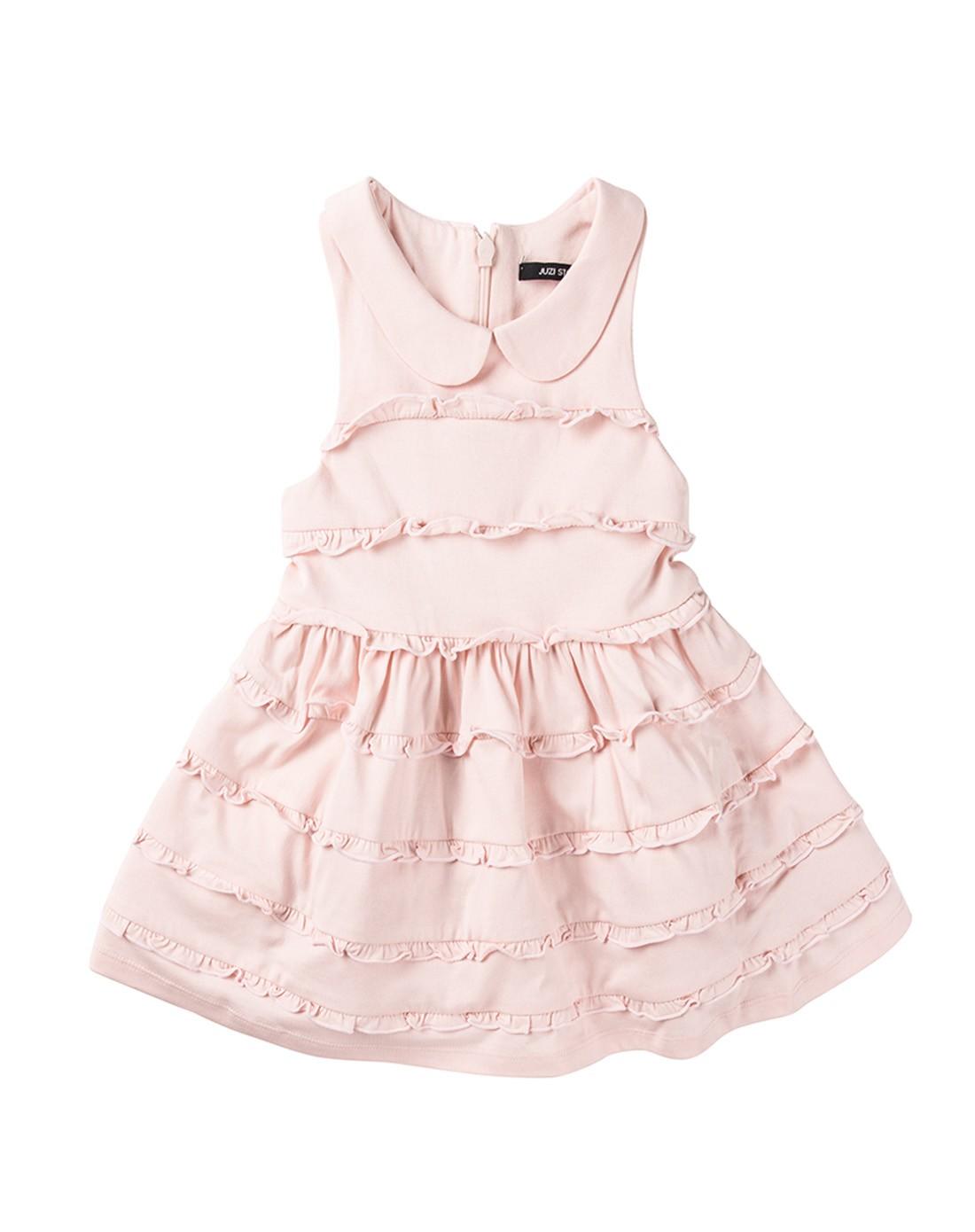 女童玫瑰水粉精梳棉蛋糕裙