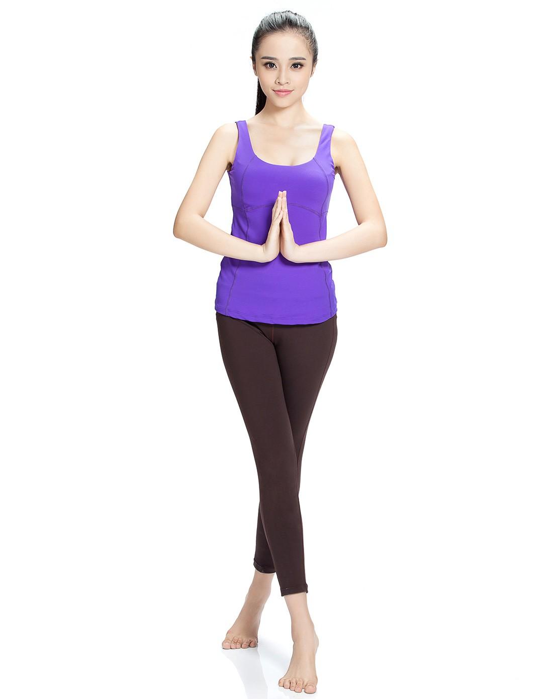 女款丁香紫色几何分割线背心