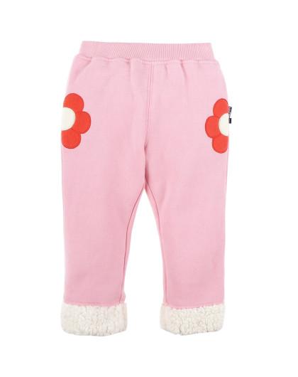 儿童粉红色抓绒长裤