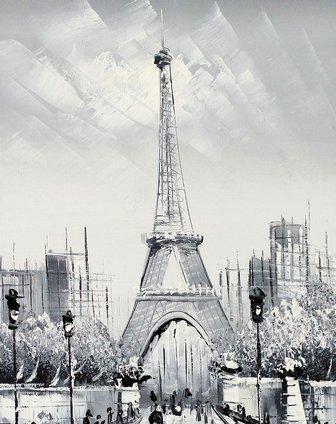 纯手绘油画埃菲尔铁塔