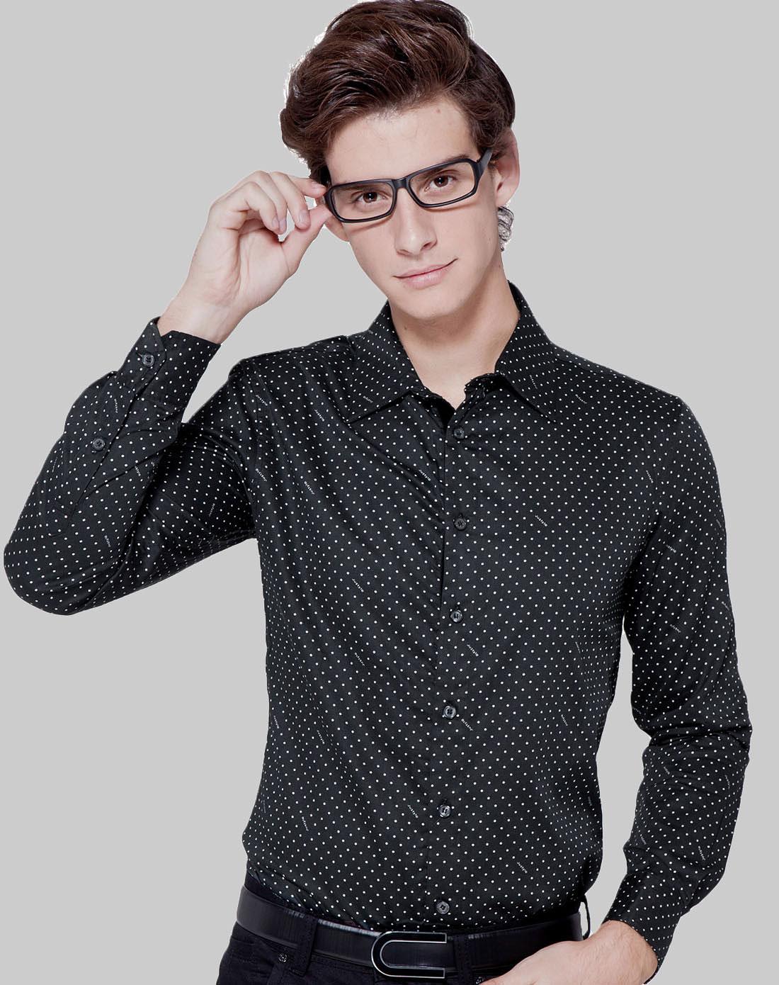 简时尚品justyle_简时尚品justyle男装专场-黑/白色时尚点点长袖衬衫