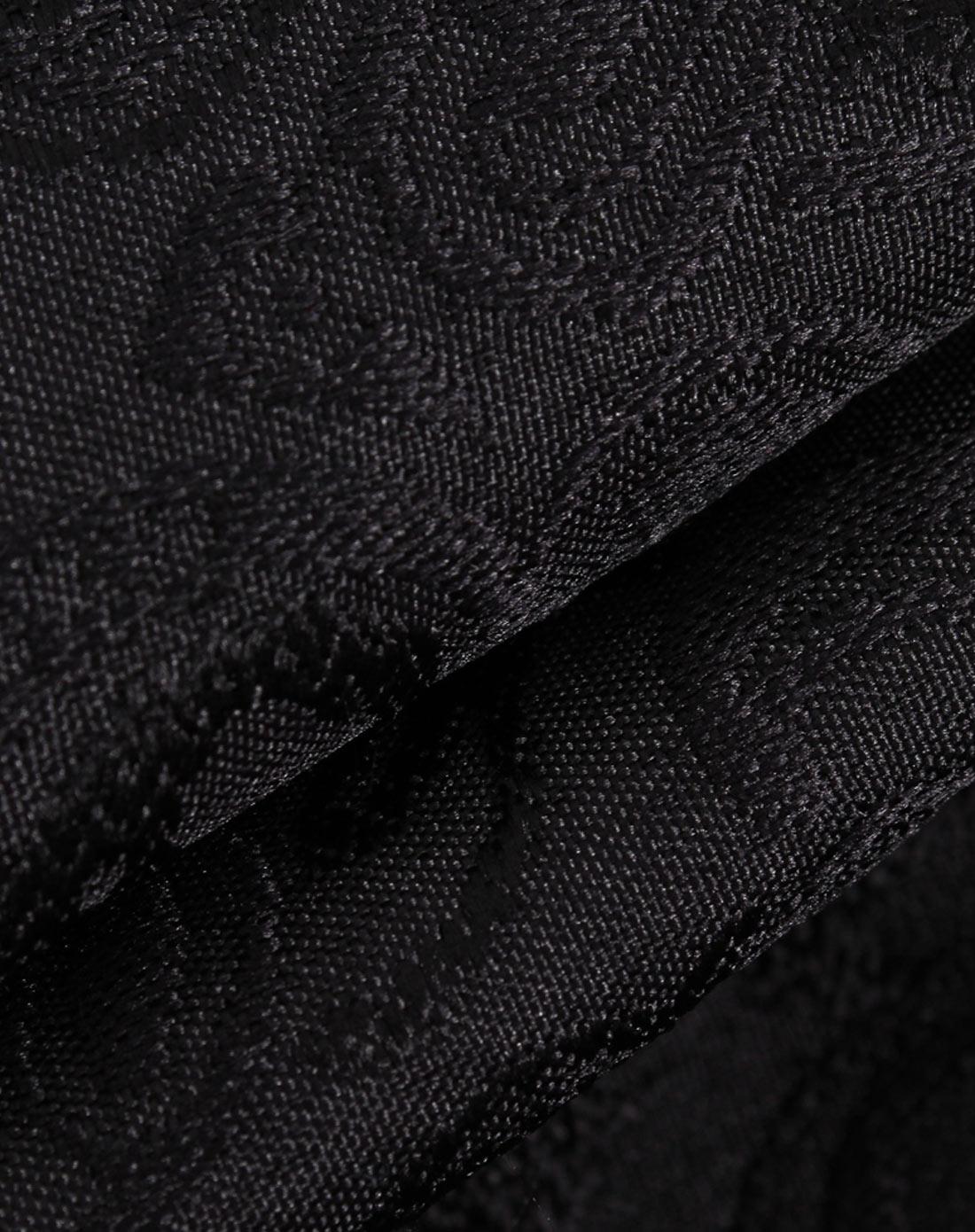 黑色中腰提花面料廓形显瘦休闲裤