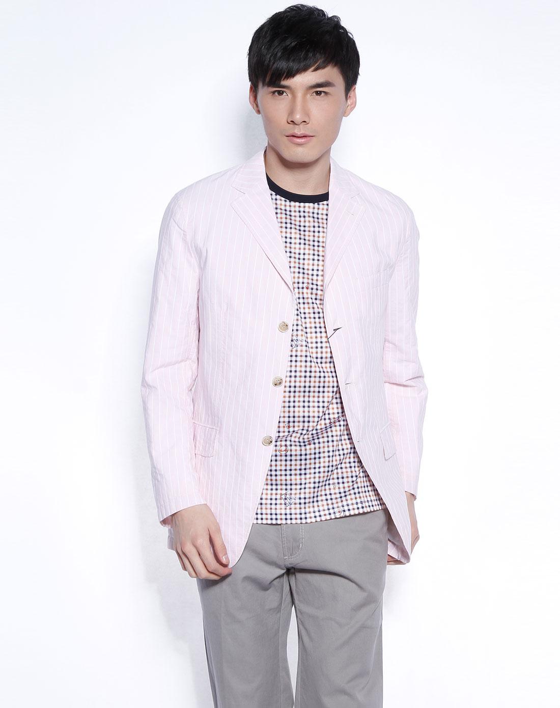 粉红/白色竖条纹长袖西装外套