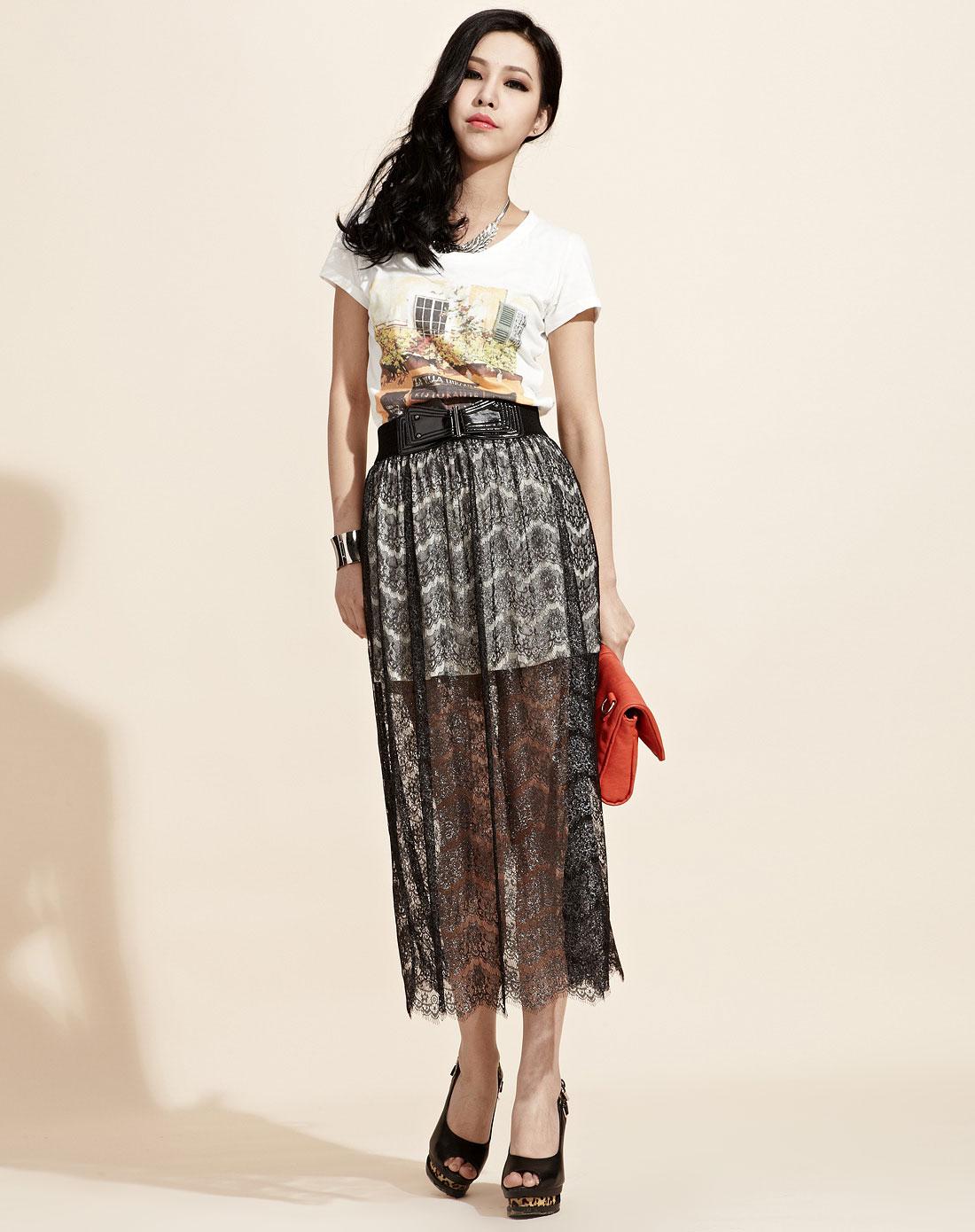 欧莱诺olomo风情蕾丝撞色内衬长半裙1124611490