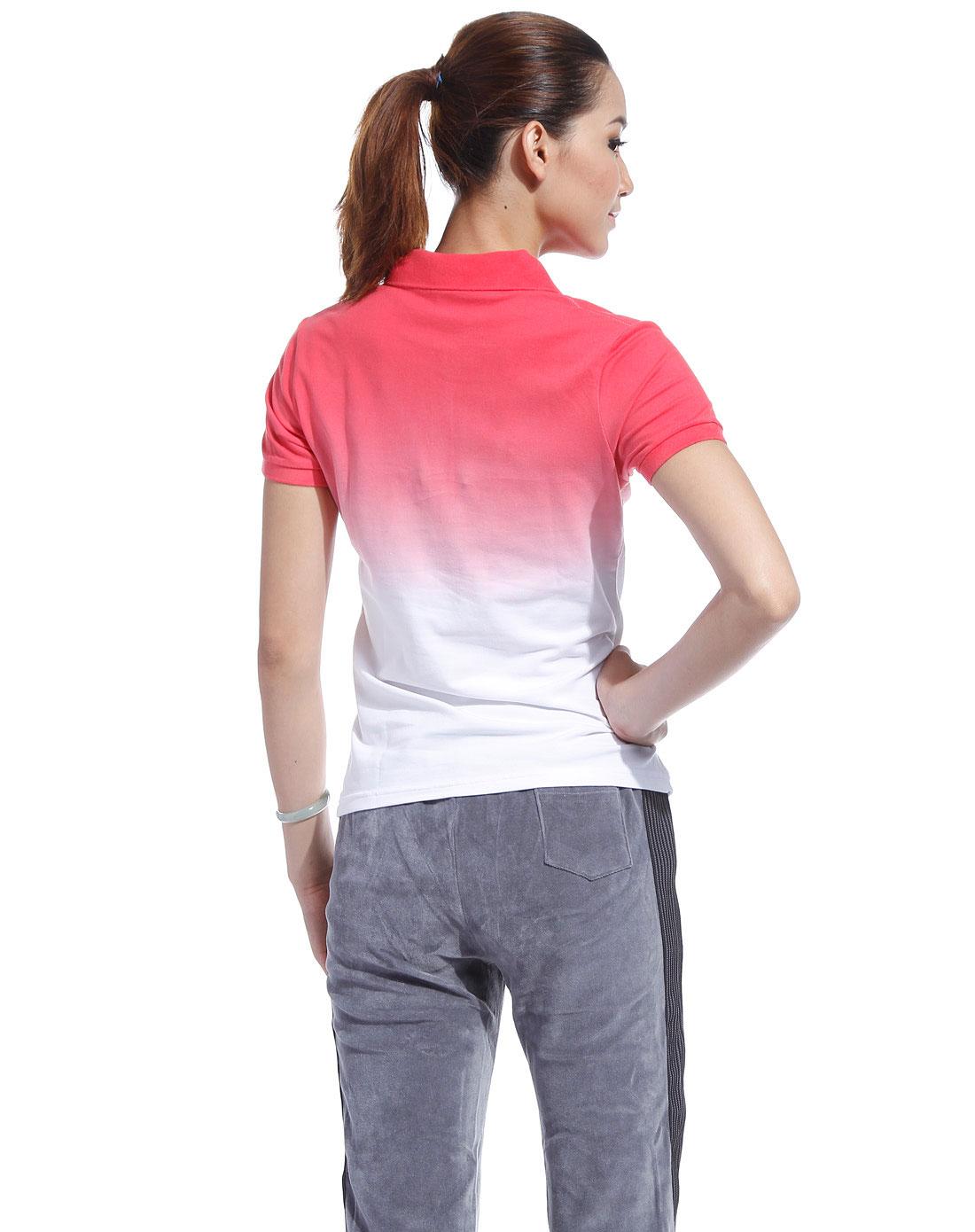女款白/粉红色渐变翻领短袖衫