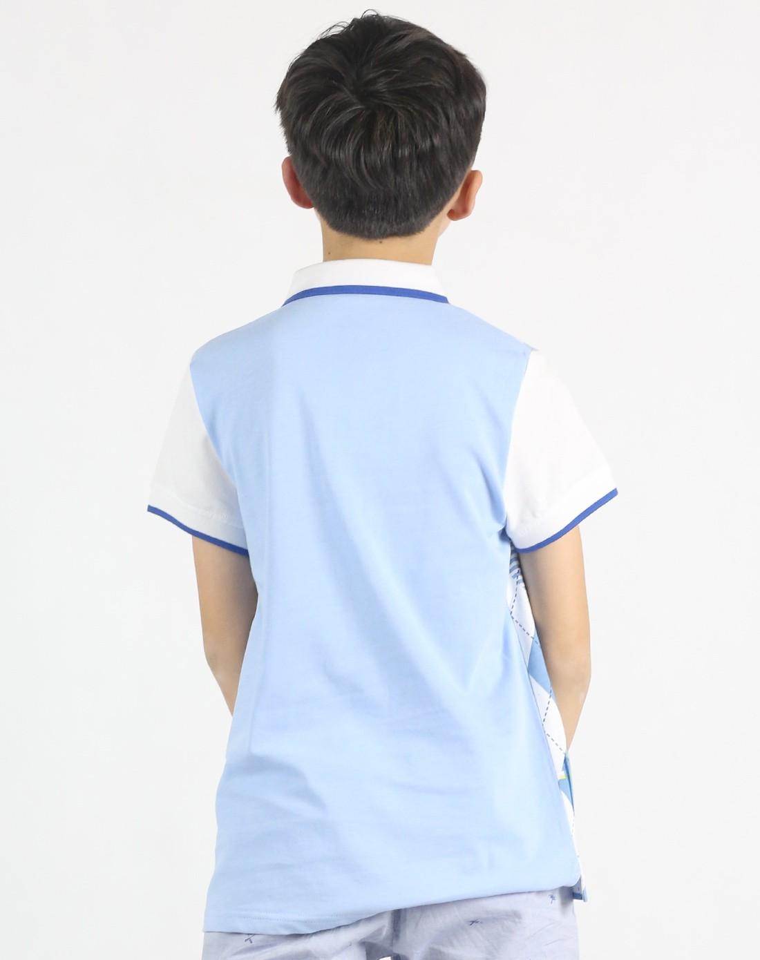 红黄蓝ryb男女童男童浅蓝渐变满印翻领t恤_唯品