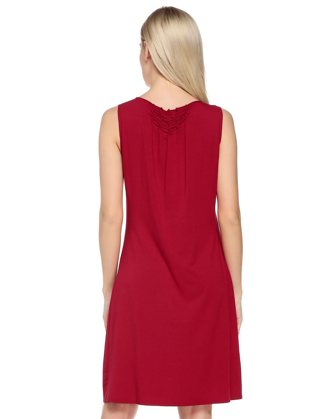 无袖跺(h��ފ9_红色端庄优雅无袖连衣裙